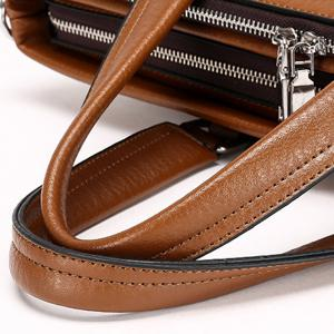 Trendy Zippers and Solid Colour Design Briefcase For Men - BROWN