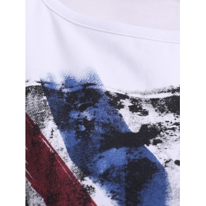 Chic Round Neck Cut Out Flag Print Asymmetrical Women's T-Shirt -