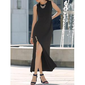 Graceful Round Neck Sleeveless High Slit Maxi Dress For Women
