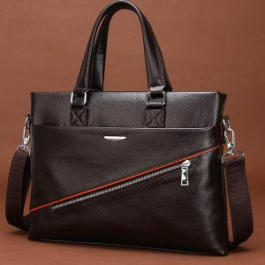 Styish Zip and PU Leather Design Briefcase For Men -