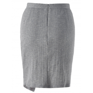 Ribbed Front Slit Pencil Skirt - SMOKY GRAY S