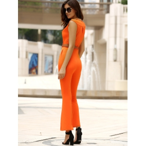 Trendy Solid Color Sleeveless Belted Wide-Leg Jumpsuit For Women - JACINTH M