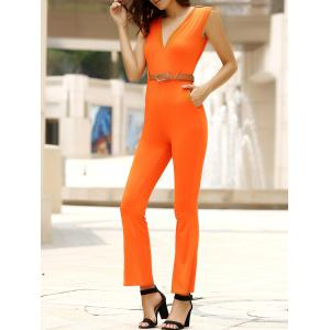 Trendy Solid Color Sleeveless Belted Wide-Leg Jumpsuit For Women