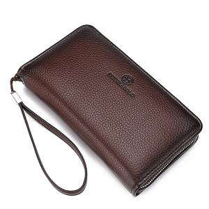 Trendy Zip and PU Leather Design Clutch Bag For Men - COFFEE