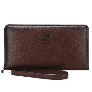 Trendy Zip and PU Leather Design Clutch Bag For Men
