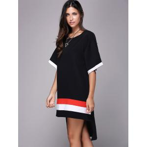 Casual Style Jewel Neck Half Sleeve Loose-Fitting Side Slit T-Shirt For Women -
