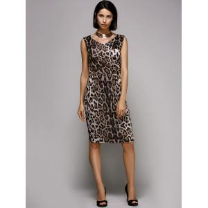 Stylish V-Neck Sleeveless Leopard Print Midi Dress For Women -