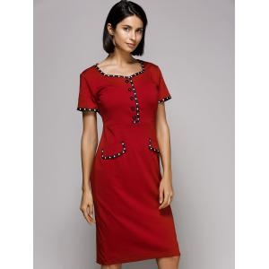 Sweetheart Neck Knee Length Pencil Work Dress - RED 2XL