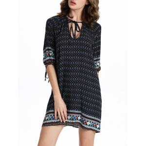 Chic Women's 3/4 Sleeve Hollow Out Ethnic Print Dress -