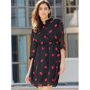 Chic Stand Collar 3/4 Sleeve Lips Pattern Women's Dress -
