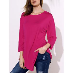 Stylish Round Collar 3/4 Sleeve Solid Color Irregular Women's T-Shirt -