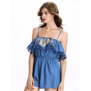 Spaghetti Strap Embroidery Overlay Short Denim Romper - DENIM BLUE 2XL