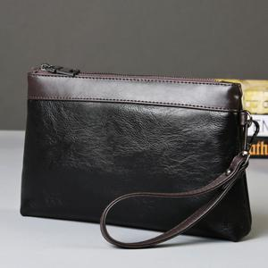 Leisure PU Leather and Color Block Design Clutch Bag For Men -