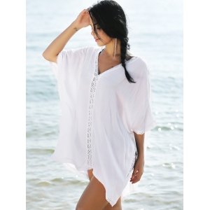 Lace Trim Slit Flowy Tunic Kaftan Cover Up - WHITE ONE SIZE(FIT SIZE XS TO M)