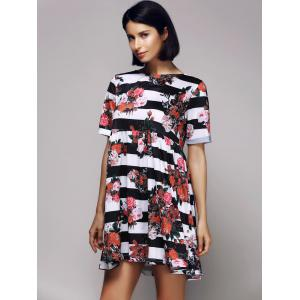 Casual Short Sleeve Round Neck Striped Floral Women's Dress -