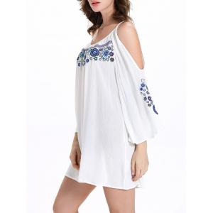 Chic Women's 3/4 Sleeve Ethnic Print Scoop Neck Cut Out Dress - WHITE 2XL