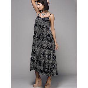 Stylish Spaghetti Strap Printed Flounced Women's Dress -