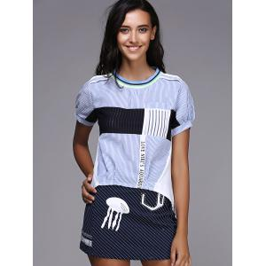 Short Sleeve Striped Two Piece Dress -
