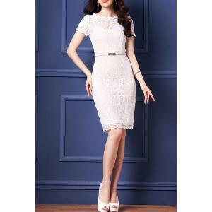 Belted Guipure Lace Bodycon Dress -