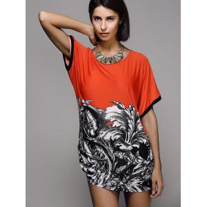 Stylish Printed Short Sleeve Scoop Neck Women's T-Shirt -