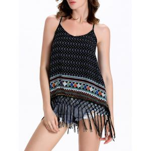 Strappy Tassels Printed Flowy Tank Top - Black - M
