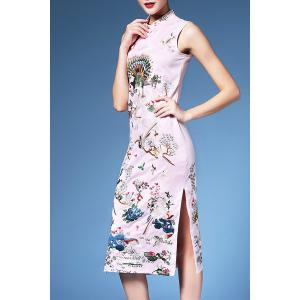 Embroidered Sleeveless Cheongsam Dress -