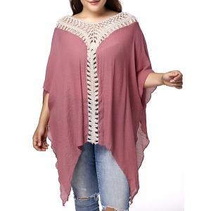 Stylish V Neck 3/4 Sleeve Asymmetrical Hollow Out Plus Size Maternity Blouse For Women - Pink - 3xl