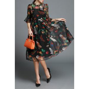 Ruffled Floral Print Dress -