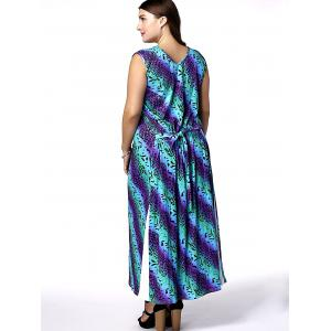 Casual Scoop Neck Sleeveless African Print Plus Size Women's Dress -