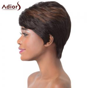 Fluffy Natural Straight Capless Refreshing Brown Highlight Short Synthetic Adiors Wig For Women -