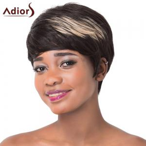 Spiffy Short Haircut Capless Straight Brown Highlight Synthetic Adiors Wig For Women - COLORMIX