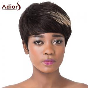 Spiffy Short Haircut Capless Straight Brown Highlight Synthetic Adiors Wig For Women