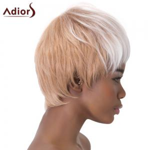 Stylish Short Haircut Straight Capless White Ombre Light Brown Synthetic Adiors Wig For Women - OMBRE 1211#