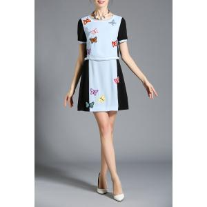 Hit Color Embroidered Faux Twinset Dress -