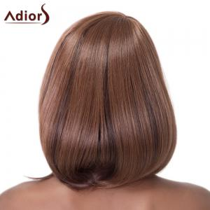 Straight Side Bang Synthetic Brown Mixed Capless Wig For Women -