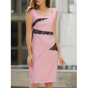 OL Square Neck Sleeveless Patch Lace Bodycon Dress For Women - Pink - Xl