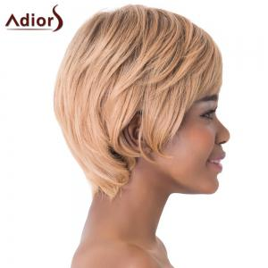 Charming Light Brown Short Capless Straight Side Bang Synthetic Adiors Wig For Women -
