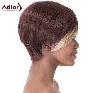 Stunning Dark Brown Highlight Straight Synthetic Short Hairstyle Capless Adiors Wig For Women -