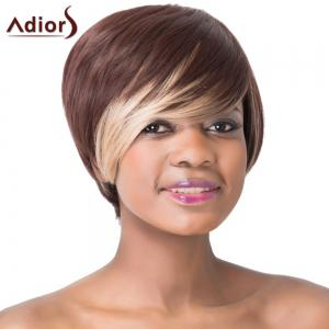 Stunning Dark Brown Highlight Straight Synthetic Short Hairstyle Capless Adiors Wig For Women