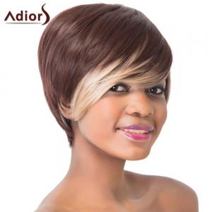 Stunning Dark Brown Highlight Straight Synthetic Short Hairstyle Capless Adiors Wig For Women - COLORMIX