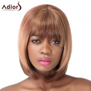 Straight Full Bang Capless Brown Short Synthetic Adiors Wig For Women