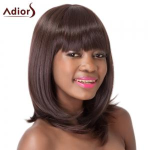 Silky Straight Dark Brown Synthetic Medium Full Bang Adiors Wig For Women - DEEP BROWN