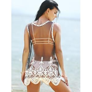 Stylish Scoop Neck Embroidered Lace Spliced Women's Cover-Up -