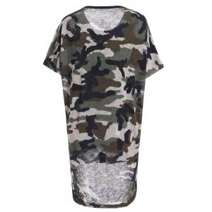 Trendy Jewel Neck Star Patchwork Camo Print Fringed T-Shirt For Women -