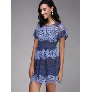 Trendy Round Neck Short Sleeve Hit Color Spliced Women's Lace Dress -