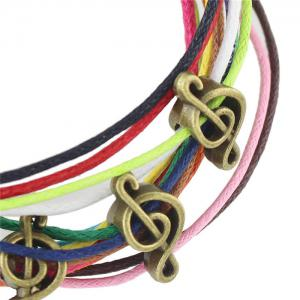 Vintage Faux Leather Rope Music Note Bracelets For Women -