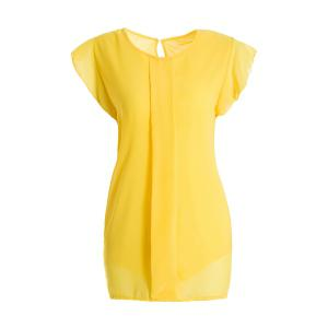Sweet High-Low Hem Fly Sleeve Solid Color Women's Chiffon Blouse