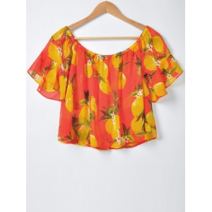 Sweet Slimming Boat Neck Fruit Printing Blouse For Women - RED S