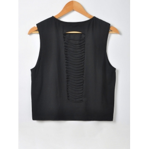 Fashionable Slimming Scoop Neck Openwork Tees For Women - BLACK M
