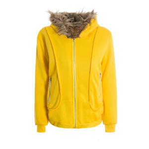 Casual Artificial Wool Embellished Hooded Zipper and Pocket Design Women's Cotton Coat - Yellow - One Size